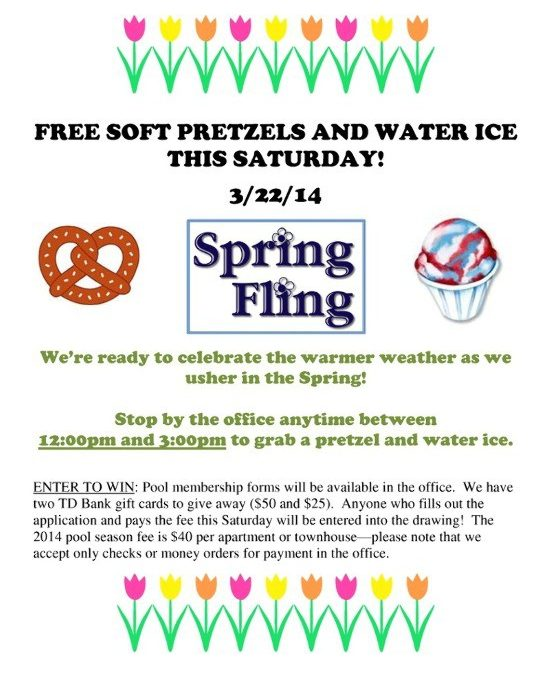 Apartment For Rent Flyer: SPRING FLING- Free Water Ice And Pretzels