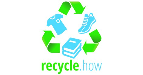 Recycle.how logo with books, shoes and a t-shirt
