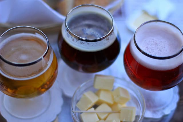 Sample Pairings of Grilled Cheese and Craft Beer at a Tasting at the World Cafe Live Wilmington Next to Apartments Near Marcus Hook, PA