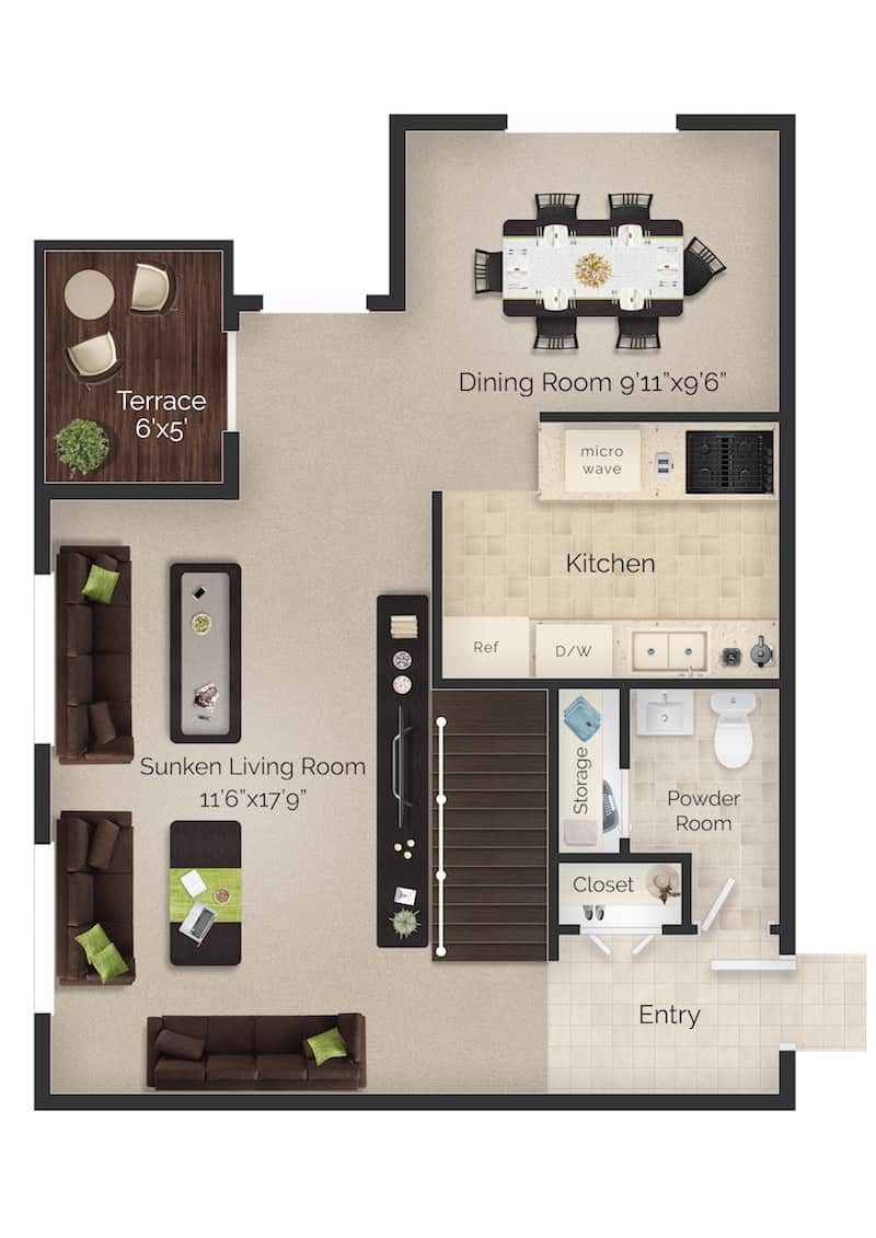 Meetinghouse Apartments two bed two and a half bath apartment floor plan with terrace