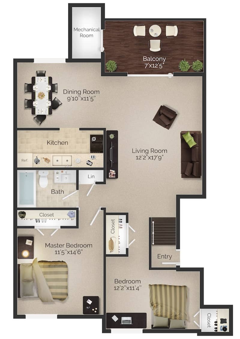 Two bed one bath apartment floor plan with balcony at Meetinghouse apartments in Boothwyn, PA