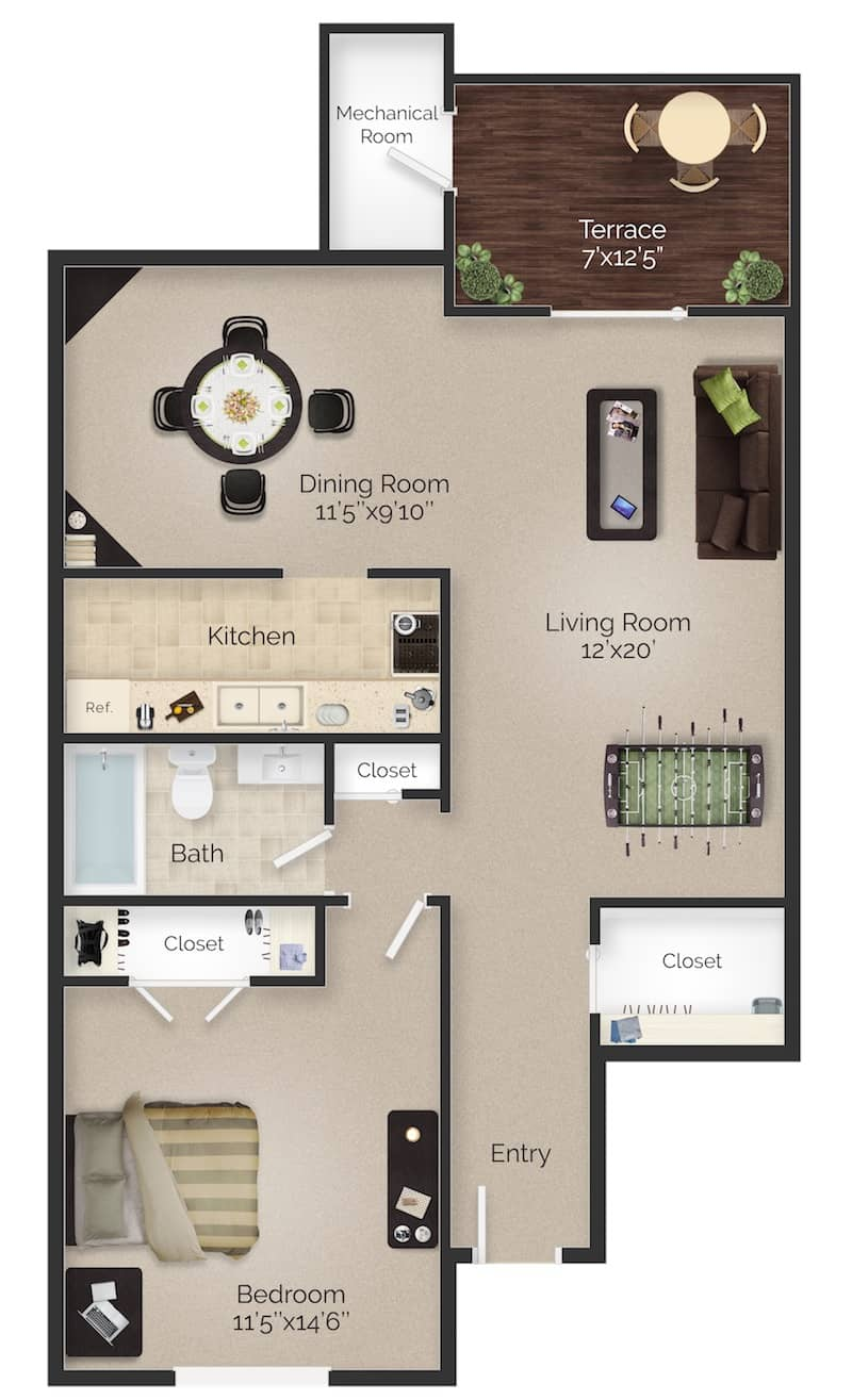 Boothwyn, PA one bedroom one bathroom apartment floor plan with terrace