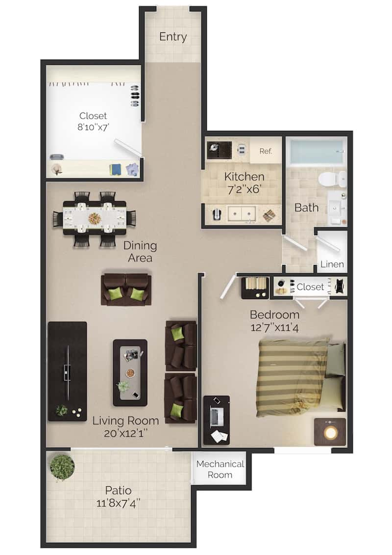 Meetinghouse apartments one bed one bath apartment floor plan with terrace in Boothwyn, PA