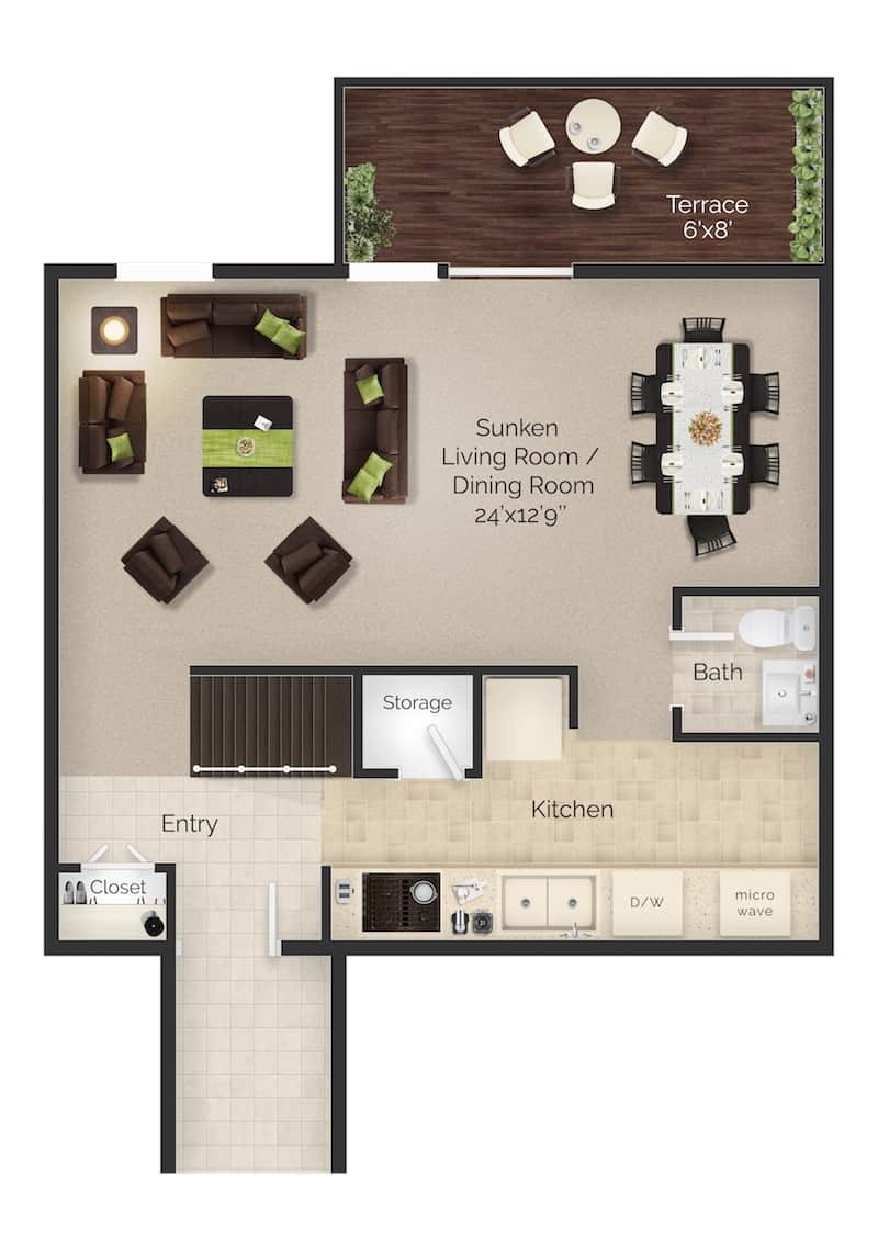 Two bed two and a half bath apartment floor plan with terrace at Meetinghouse Apartments