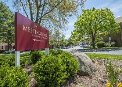 Entrance sign for Meetinghouse Apartments in Boothwyn, PA