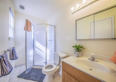 Spacious bathroom with large shower and sink in Boothwyn, PA apartment