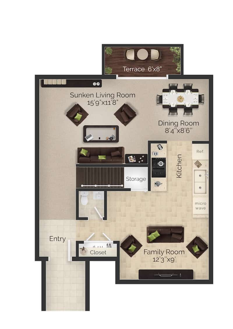 Three bedroom two and a half bathroom apartment floor plan with terrace in Boothwyn, PA